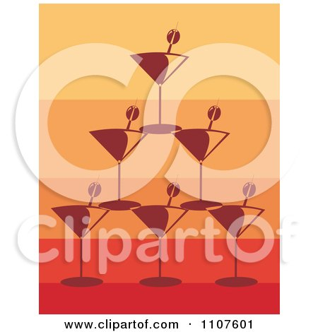 Clipart Pyramid Of Stacked Martini Glasses And Olives Over Gradient Orange And Red - Royalty Free Vector Illustration by Amanda Kate