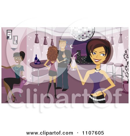 Clipart Attractive Young Adults With Cocktails In A Disco Night Club - Royalty Free Vector Illustration by Amanda Kate