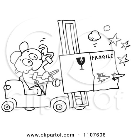 Clipart Outlined Distracted Forklift Driver Running Over A Fragile Box - Royalty Free Vector Illustration by gnurf