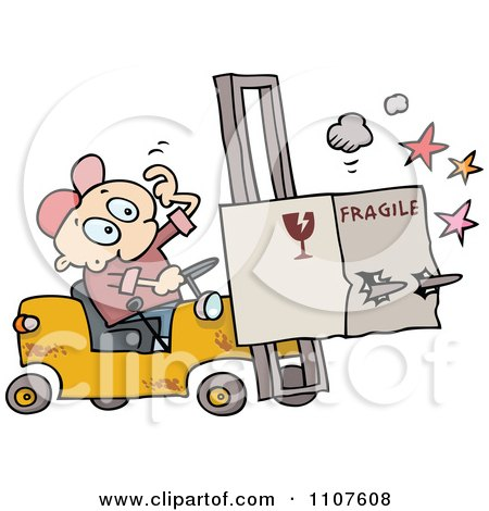 Clipart Distracted Forklift Driver Running Over A Fragile Box - Royalty Free Vector Illustration by gnurf