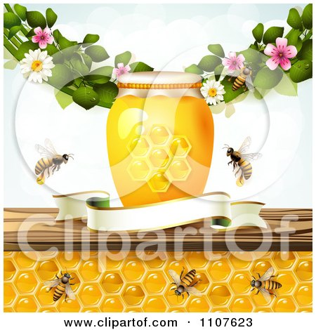 Bees And Honeycombs Under A Shelf With A Jars Blossoms And Blank Banner Posters, Art Prints