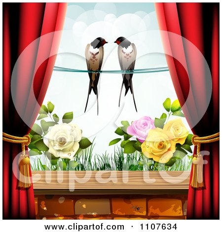 Red Drapes Framing A Pair Of Swallows Over A Rose Garden Posters, Art Prints
