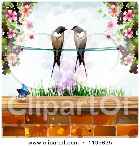 Clipart Pair Of Swallows Over Grass With Blossoms Hearts And A Butterfly Above Bricks - Royalty Free Vector Illustration by merlinul