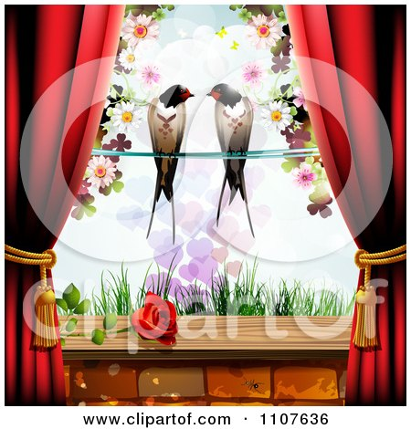 Clipart Red Drapes Framing A Pair Of Swallows Over Grass With A Rose On The Window Sill - Royalty Free Vector Illustration by merlinul