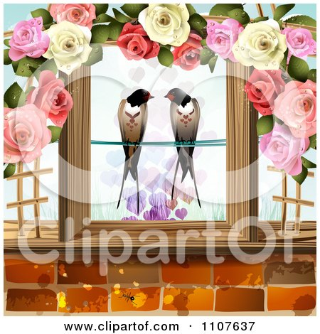 Pair Of Swallows Framed In Wood And Roses With Hearts Above Bricks Posters, Art Prints