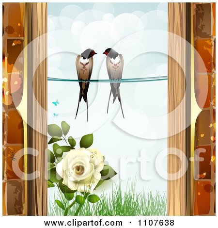 Clipart Pair Of Swallows Over Grass And A Rose Through A Brick Window Frame - Royalty Free Vector Illustration by merlinul