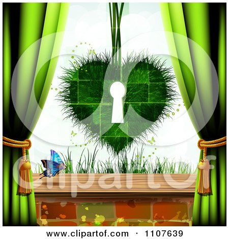 Clipart Butterfly And Brick Background With A Grassy Key Hole Heart And Drapes - Royalty Free Vector Illustration by merlinul