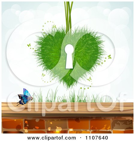 Clipart Butterfly And Brick Background With A Grass Key Hole Heart - Royalty Free Vector Illustration by merlinul