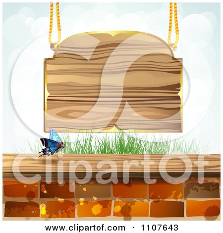 Clipart Butterfly And Brick Background With A Wood Sign - Royalty Free Vector Illustration by merlinul