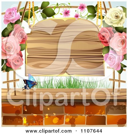 Clipart Butterfly And Brick Background With Roses And A Sign - Royalty Free Vector Illustration by merlinul