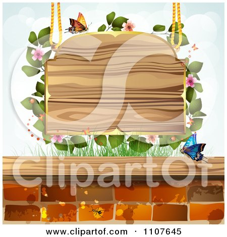 Clipart Butterfly And Brick Background Blossoms And A Suspended Sign - Royalty Free Vector Illustration by merlinul