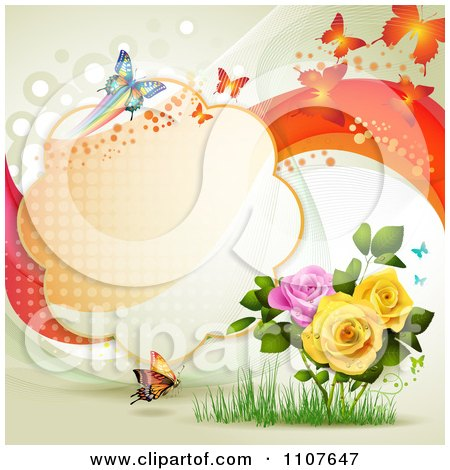 Clipart Butterfly Frame With Roses - Royalty Free Vector Illustration by merlinul
