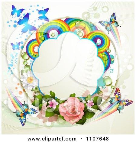 Clipart Butterfly Frame With Roses And Rainbow Circles 1 - Royalty Free Vector Illustration by merlinul