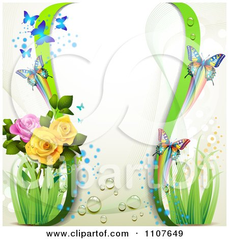 Clipart Butterfly Frame With Dew And Roses - Royalty Free Vector Illustration by merlinul