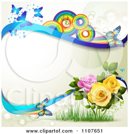 Clipart Butterfly Frame With Roses And Rainbow Circles 2 - Royalty Free Vector Illustration by merlinul