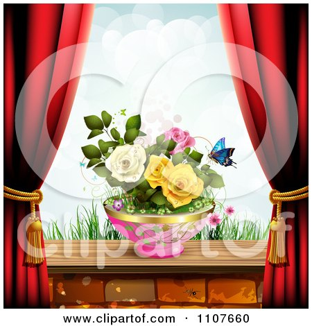 Clipart Butterfly And Brick Background With Drapes And Roses 3 - Royalty Free Vector Illustration by merlinul