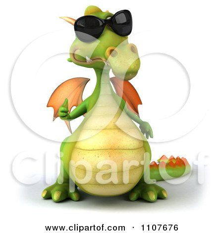 Clipart 3d Green Dragon Wearing Sunglasses And Holding A Thumb Up 1 - Royalty Free CGI Illustration by Julos