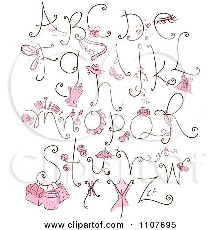 Clipart Feminine Letter Design Elements With Pink Items - Royalty Free Vector Illustration by BNP Design Studio