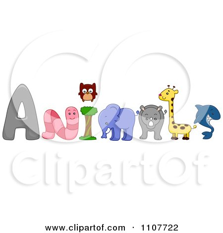 Clipart The Word Animals With A Worm Owl Elephant Rhino Giraffe And Shark - Royalty Free Vector Illustration by BNP Design Studio