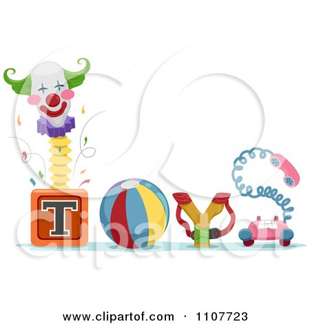 Clipart The Word Toys With A Jack In The Box Ball Sling Shot And Telephone - Royalty Free Vector Illustration by BNP Design Studio