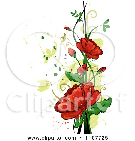 Picture  Rose Flower on Clipart Red Rose Flowers Over Swirls And Splatters   Royalty Free