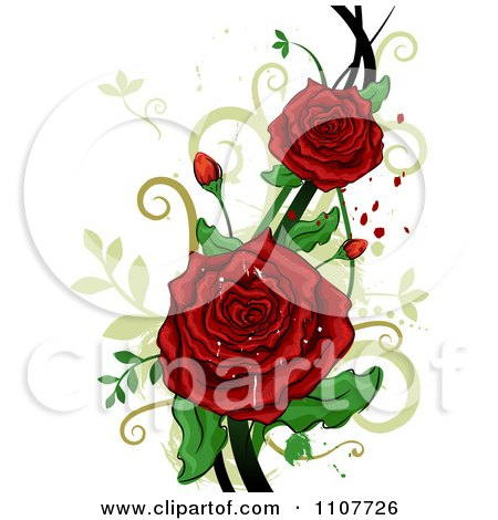 Clipart Red Rose Flowers Over Swirls And Splatters Royalty Free Vector Illustration