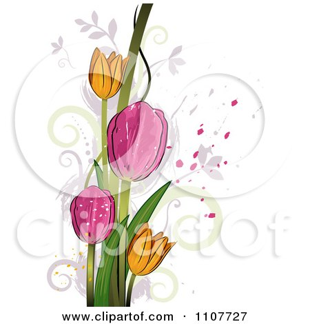 Clipart Pink And Yellow Tulip Flowers Over Swirls And Splatters - Royalty Free Vector Illustration by BNP Design Studio