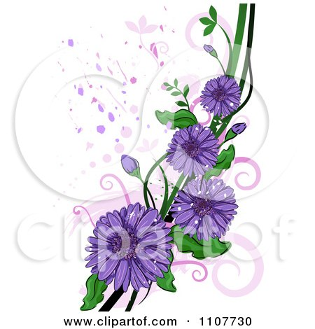 Clipart Purple Gerbera Daisy Flowers Over Swirls And Splatters - Royalty Free Vector Illustration by BNP Design Studio