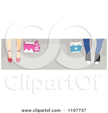 Clipart Website Header Of Shoppers Feet With Bags On Gray - Royalty Free Vector Illustration by BNP Design Studio