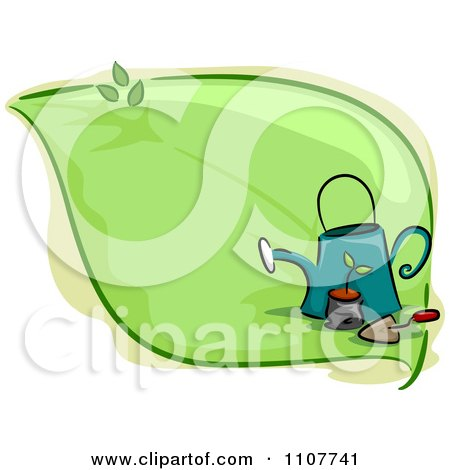 Clipart Green Leaf With A Potted Plant Watering Can And Trowel - Royalty Free Vector Illustration by BNP Design Studio