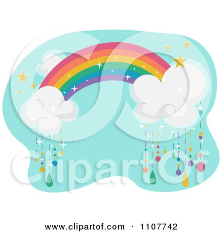 Clipart Rainbow With Clouds Raining Colors Over Blue - Royalty Free Vector Illustration by BNP Design Studio