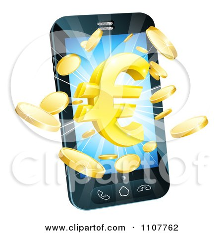 Clipart 3d Cell Phone With Gold Coins And A Euro Symbol Bursting From The Screen - Royalty Free Vector Illustration by AtStockIllustration