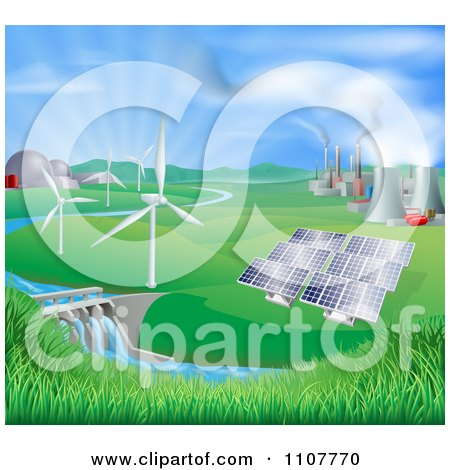 Clipart Landscape Of Wind Turbine Nuclear Fossil Fuel Coal Solar Panels And Hydro Electric Power Generation Plants - Royalty Free Vector Illustration by AtStockIllustration