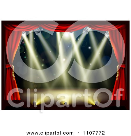 Clipart Empty Theater Stage With Red Drapes And Shining Lights - Royalty Free Vector Illustration by AtStockIllustration