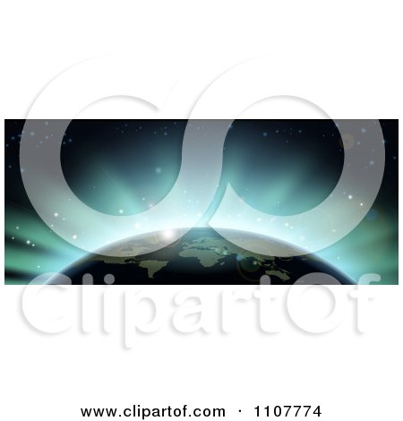 Clipart Blue Flares Of Eclipse Light Behind Earth - Royalty Free Vector Illustration by AtStockIllustration
