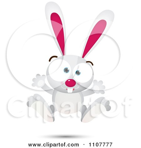 Clipart Happy White Bunny Rabbit Jumping - Royalty Free Vector Illustration by Qiun