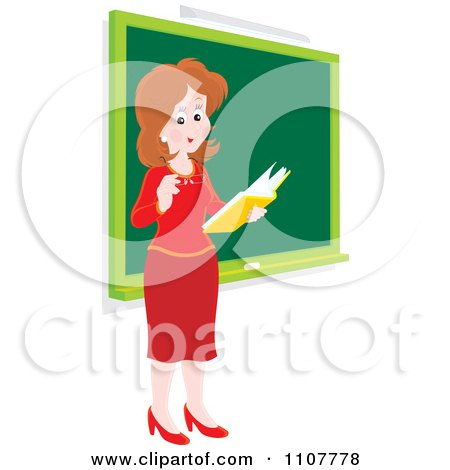 Clipart Happy Female School Teacher Reading A Book By A Chalk Board - Royalty Free Vector Illustration by Alex Bannykh