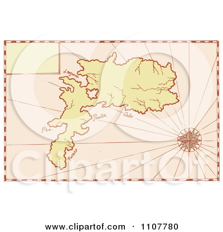 Clipart Vintage Map Of An Island With A Compass Star - Royalty Free Vector Illustration by patrimonio