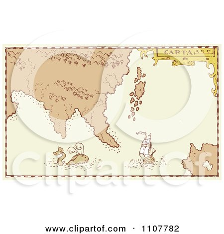 Clipart Vintage Treasure Map With A Whale And Galleon Ship - Royalty Free Vector Illustration by patrimonio
