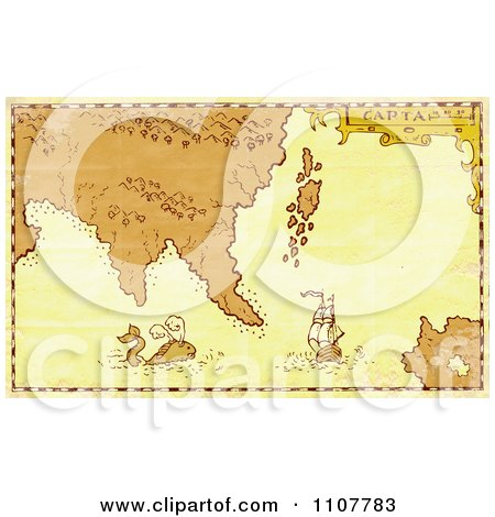 Clipart Grungy Treasure Map With A Whale And Galleon Ship - Royalty Free Illustration by patrimonio