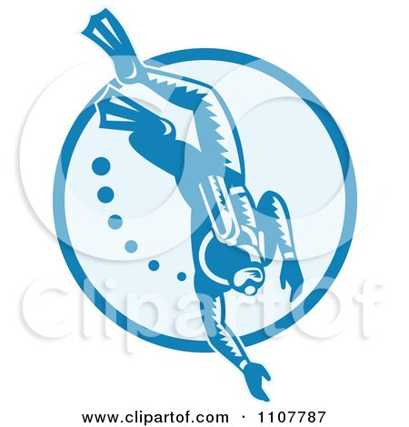 Clipart Retro Woodcut Scuba Diver With Bubbles In A Circle - Royalty Free Vector Illustration by patrimonio