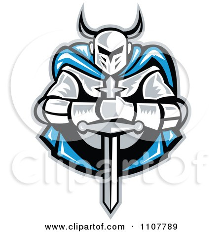 Retro Woodcut Knight Holding A Sword And Wearing A Blue Cape Posters, Art Prints