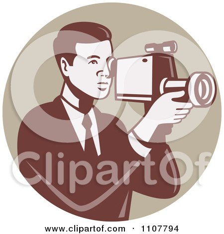 Clipart Retro Camera Man Using A Video Recorder In A Tan Circle - Royalty Free Vector Illustration by patrimonio