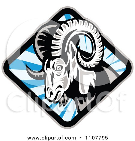 Clipart Bighorn Sheep In A Diamond Of Blue Rays - Royalty Free Vector Illustration by patrimonio