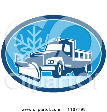 Clipart Snow Plow Truck On A Road In A Blue Oval With A Snowflake - Royalty Free Vector Illustration by patrimonio