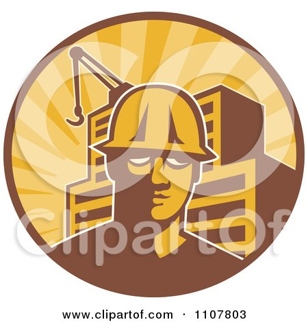 Clipart Retro Construction Worker Man In A Hardhat In A Circle With Rays A Building And Crane - Royalty Free Vector Illustration by patrimonio
