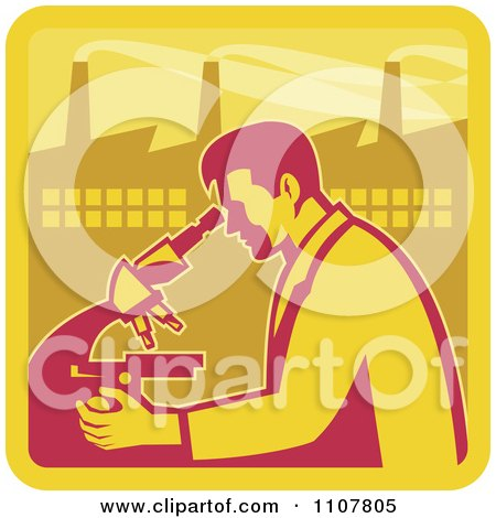 Clipart Retro Male Scientist Looking Into A Microscope With A Factory In The Background - Royalty Free Vector Illustration by patrimonio