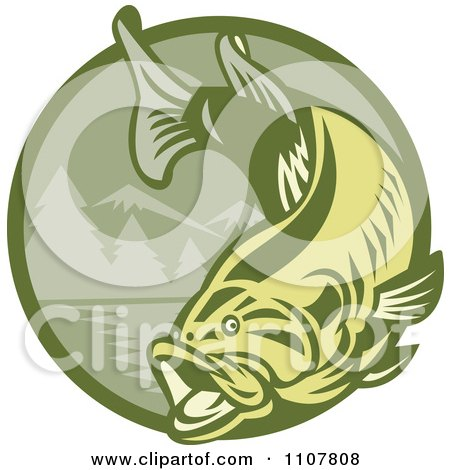Clipart Leaping Largemouth Bass Fish Over A Green Mountainous Circle - Royalty Free Vector Illustration by patrimonio