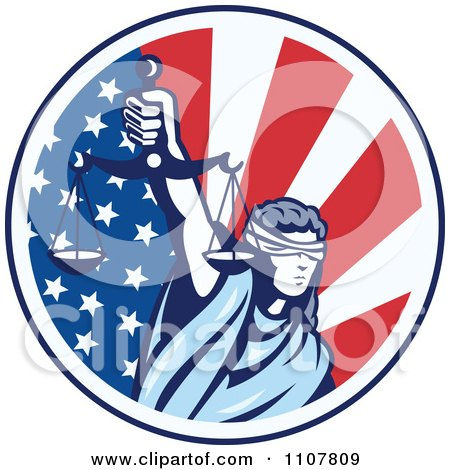 Clipart Retro Circle Of Lady Justice Holding Scales Up Over An American Flag - Royalty Free Vector Illustration by patrimonio