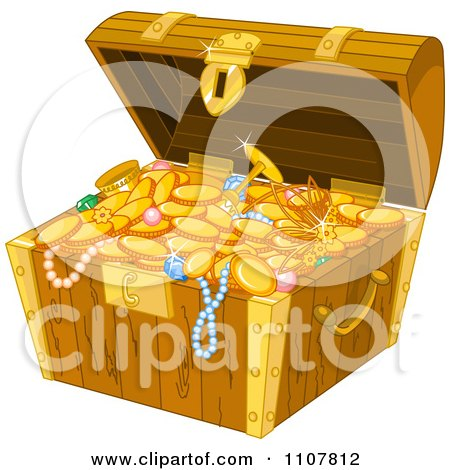 Clipart Open Wooden Treasure Chest With Gold Jewelery Coins And Booty - Royalty Free Vector Illustration by Pushkin